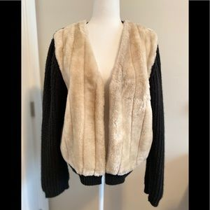 Topshop Black Knit Cardigan with faux fur front